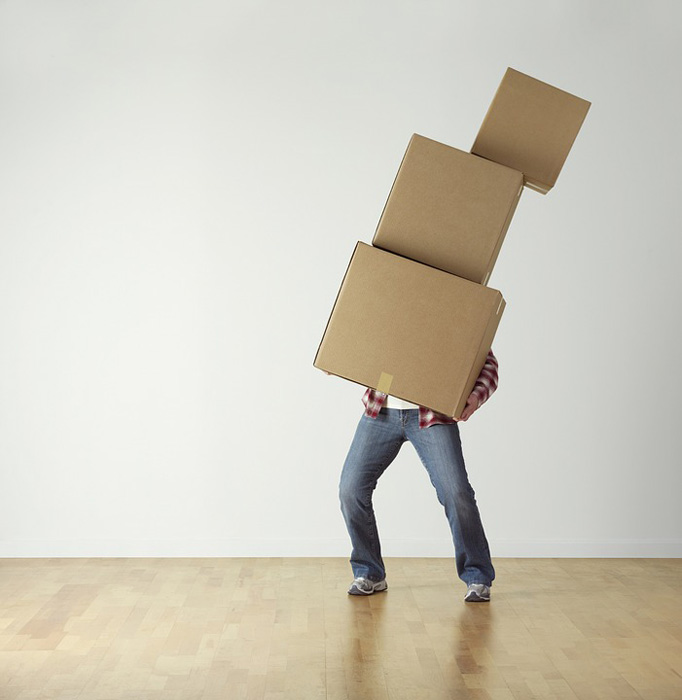 Overload Cardboard Carrying Boxes Person Move